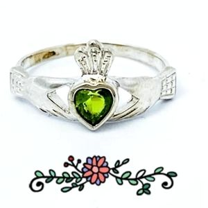 Peridot Irish Claddagh Ring in Sterling Silver
